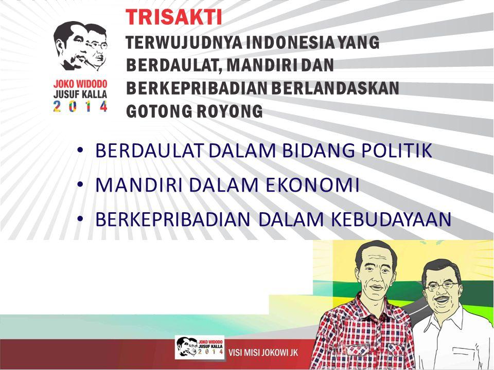 BERDAULAT DALAM BIDANG POLITIK MANDIRI DALAM EKONOMI BERKEPRIBADIAN DALAM KEBUDAYAAN TRISAKTI TERWUJUDNYA INDONESIA YANG BERDAULAT, MANDIRI DAN BERKEPRIBADIAN BERLANDASKAN GOTONG ROYONG