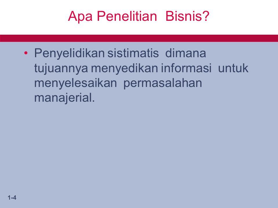 1-4 Apa Penelitian Bisnis? Penyelidikan sistimatis dimana tujuannya menyedikan informasi untuk menyelesaikan permasalahan manajerial.