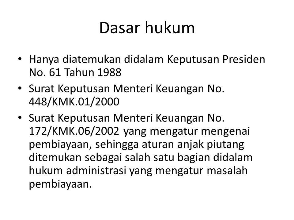 Dasar hukum Hanya diatemukan didalam Keputusan Presiden No.