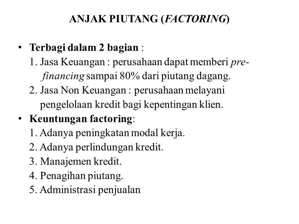 ANJAK PIUTANG (FACTORING) Terbagi dalam 2 bagian : 1.
