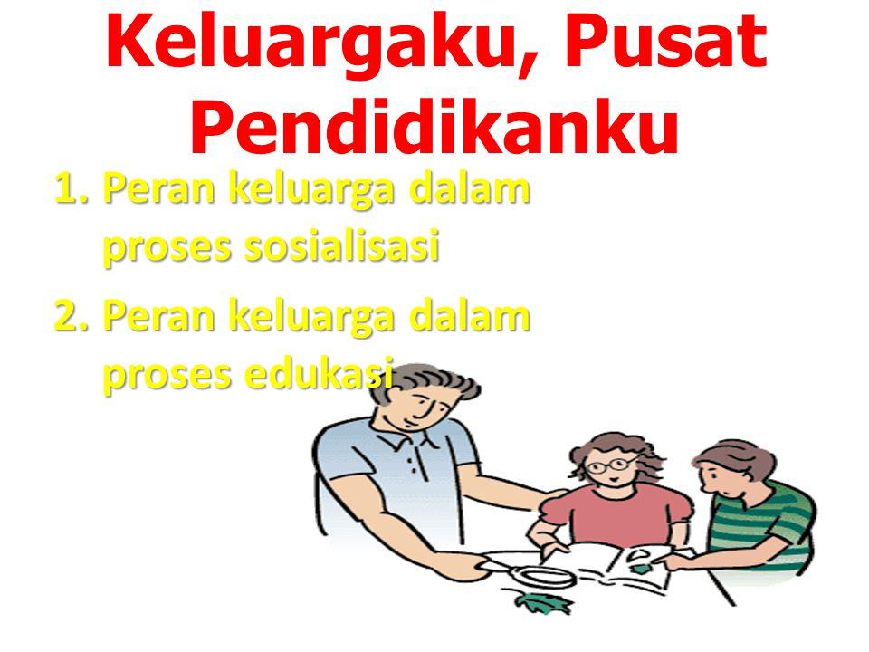 Keluargaku, Pusat Pendidikanku 1.Peran keluarga dalam proses sosialisasi 2.Peran keluarga dalam proses edukasi