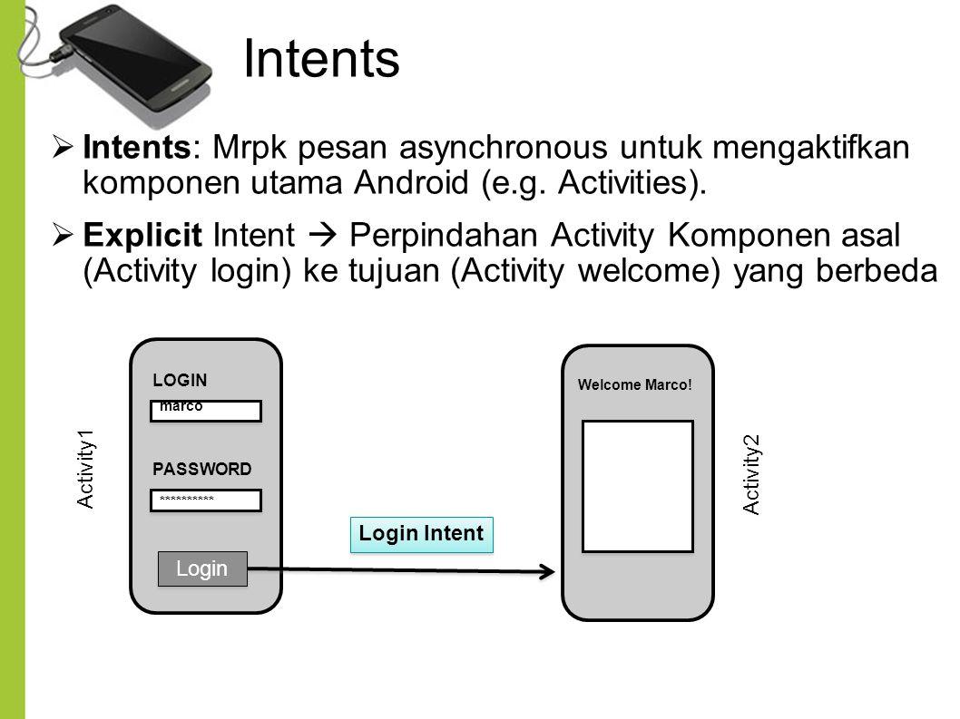 Intents  Intents: Mrpk pesan asynchronous untuk mengaktifkan komponen utama Android (e.g. Activities).  Explicit Intent  Perpindahan Activity Kompo