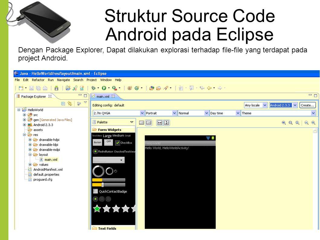 Dengan Package Explorer, Dapat dilakukan explorasi terhadap file-file yang terdapat pada project Android. Struktur Source Code Android pada Eclipse