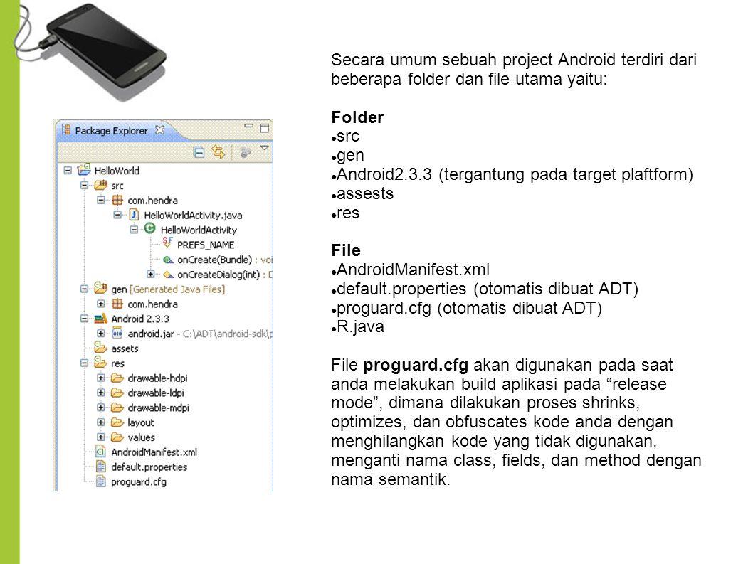 Secara umum sebuah project Android terdiri dari beberapa folder dan file utama yaitu: Folder src gen Android2.3.3 (tergantung pada target plaftform) assests res File AndroidManifest.xml default.properties (otomatis dibuat ADT) proguard.cfg (otomatis dibuat ADT) R.java File proguard.cfg akan digunakan pada saat anda melakukan build aplikasi pada release mode , dimana dilakukan proses shrinks, optimizes, dan obfuscates kode anda dengan menghilangkan kode yang tidak digunakan, menganti nama class, fields, dan method dengan nama semantik.