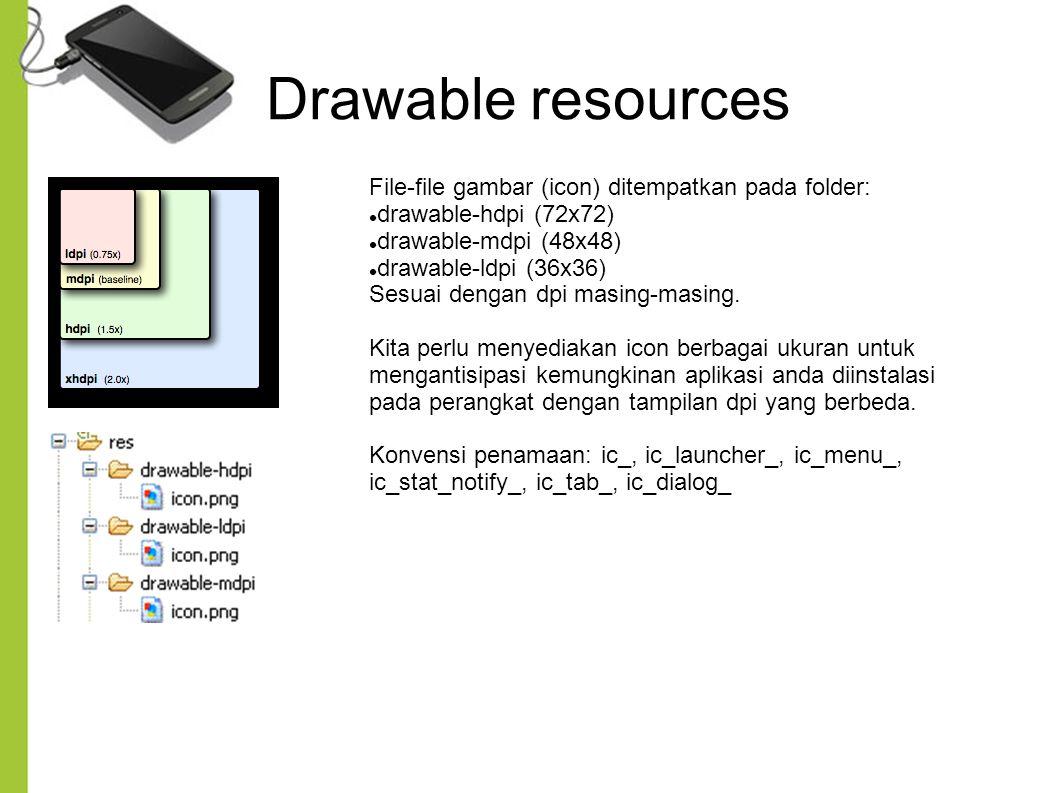 Drawable resources File-file gambar (icon) ditempatkan pada folder: drawable-hdpi (72x72) drawable-mdpi (48x48) drawable-ldpi (36x36) Sesuai dengan dp