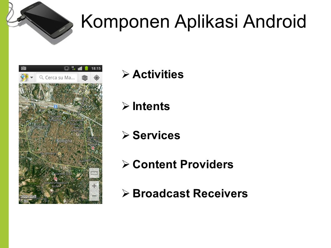 Komponen Aplikasi Android  Activities  Intents  Services  Content Providers  Broadcast Receivers
