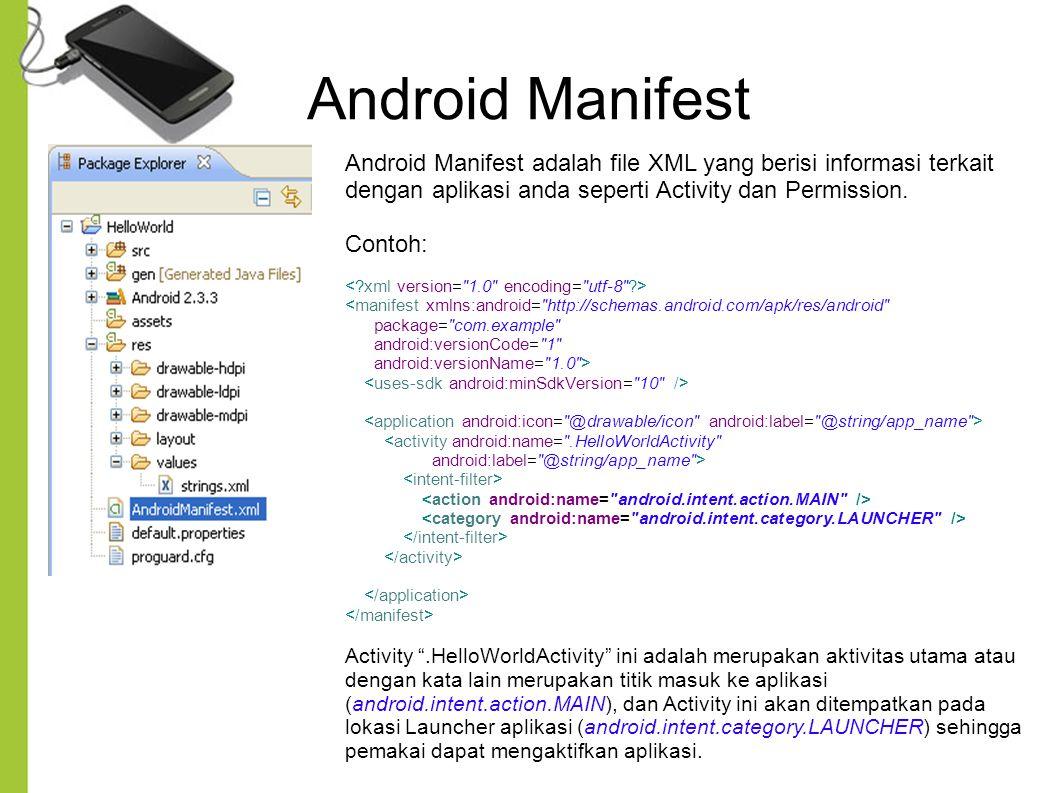 Android Manifest Android Manifest adalah file XML yang berisi informasi terkait dengan aplikasi anda seperti Activity dan Permission. Contoh: <manifes