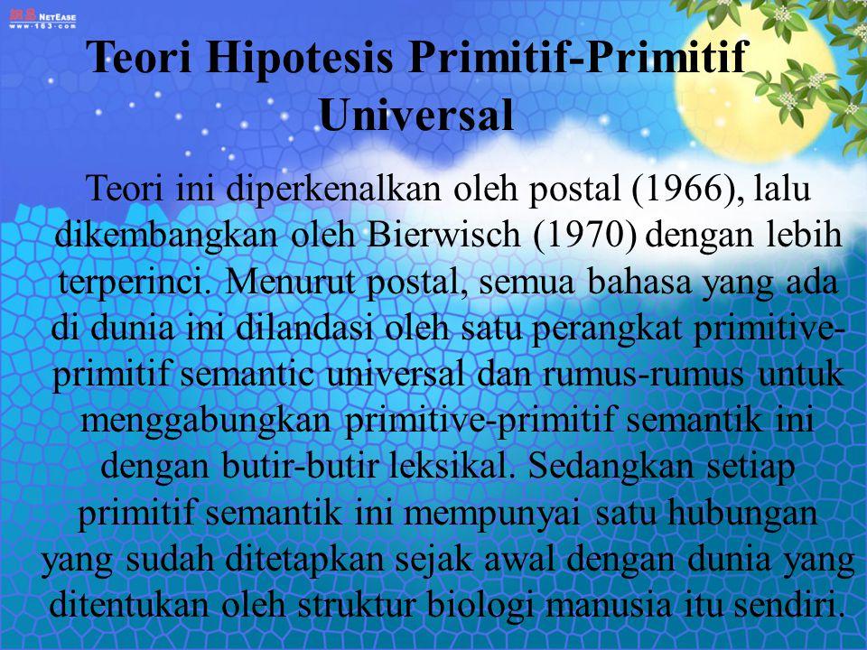 Teori Hipotesis Primitif-Primitif Universal Teori ini diperkenalkan oleh postal (1966), lalu dikembangkan oleh Bierwisch (1970) dengan lebih terperinc
