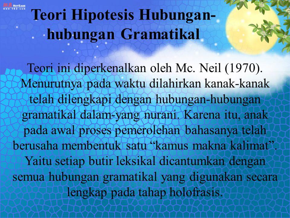 Teori Hipotesis Hubungan- hubungan Gramatikal Teori ini diperkenalkan oleh Mc. Neil (1970). Menurutnya pada waktu dilahirkan kanak-kanak telah dilengk