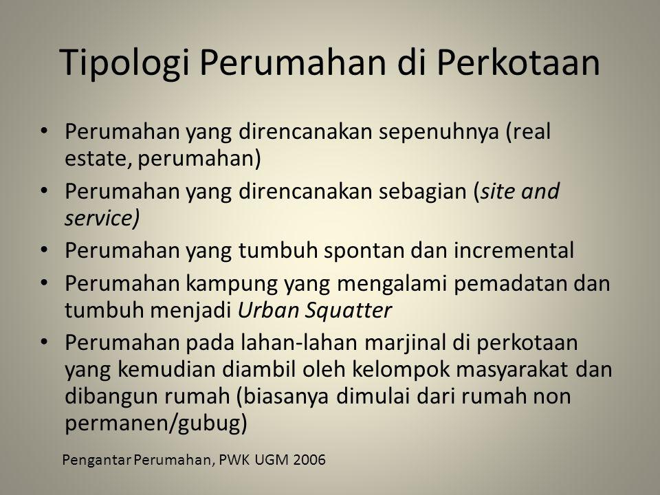 Tipologi Perumahan di Perkotaan Perumahan yang direncanakan sepenuhnya (real estate, perumahan) Perumahan yang direncanakan sebagian (site and service