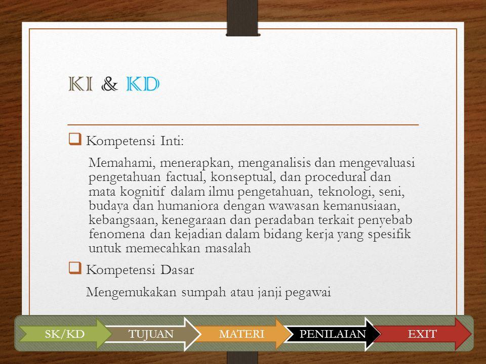 KI & KD  Kompetensi Inti: Memahami, menerapkan, menganalisis dan mengevaluasi pengetahuan factual, konseptual, dan procedural dan mata kognitif dalam