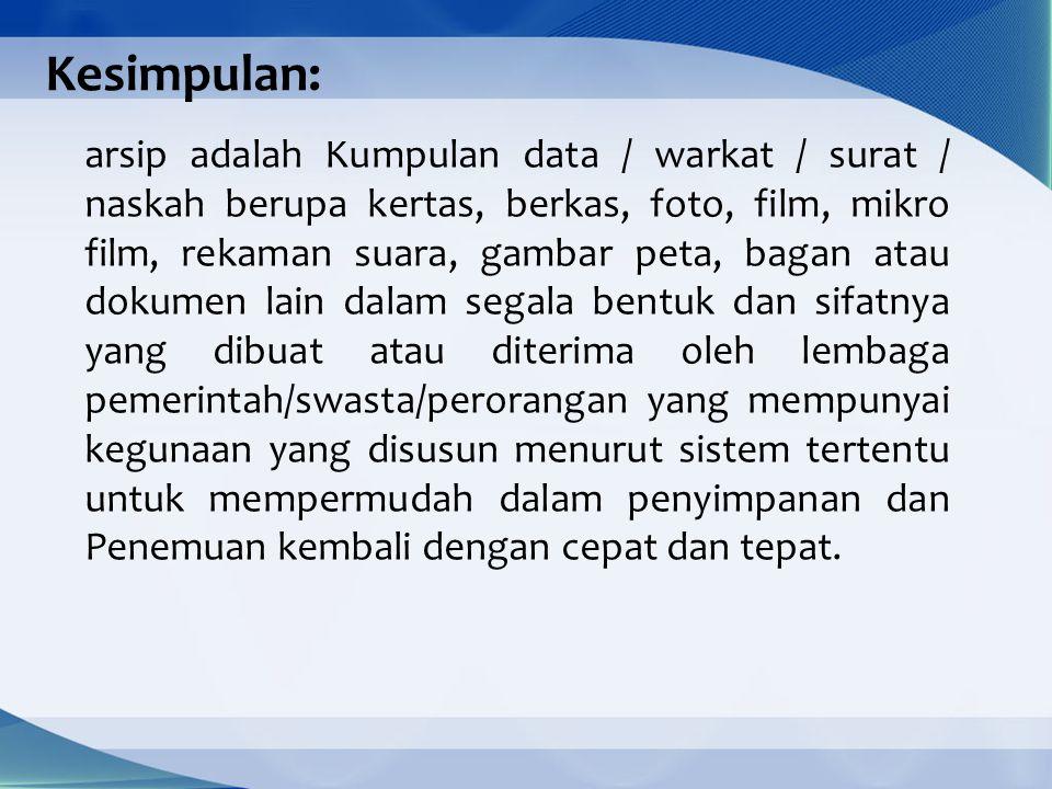 2.Pengertian Kearsipan Kearsipan (filing).