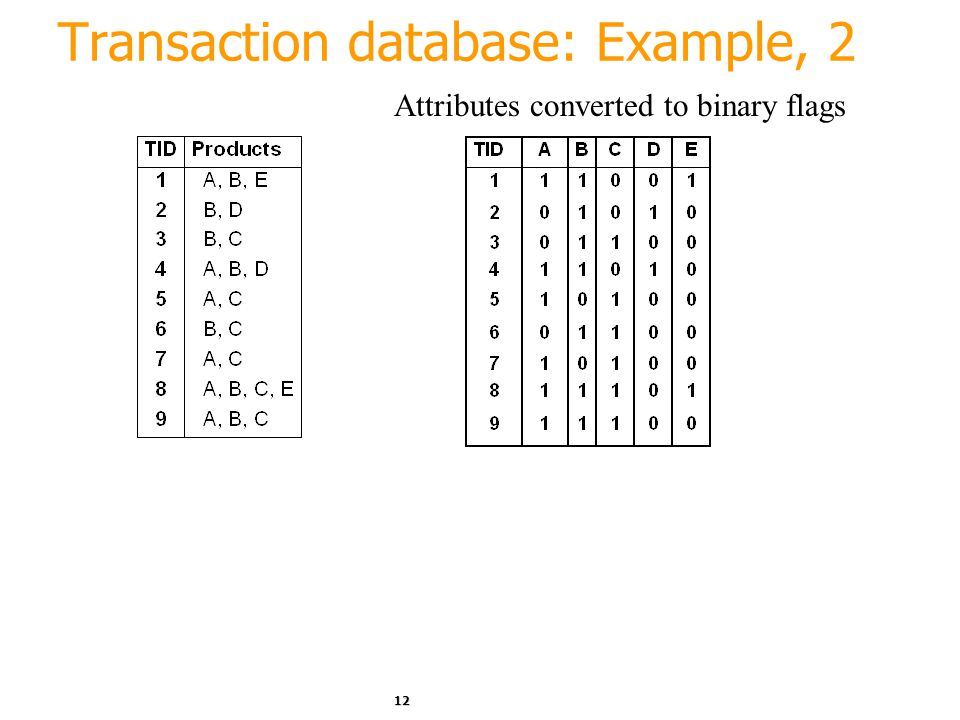12 Transaction database: Example, 2 Attributes converted to binary flags