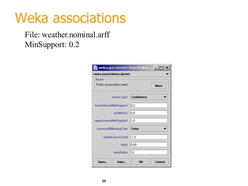 29 Weka associations File: weather.nominal.arff MinSupport: 0.2