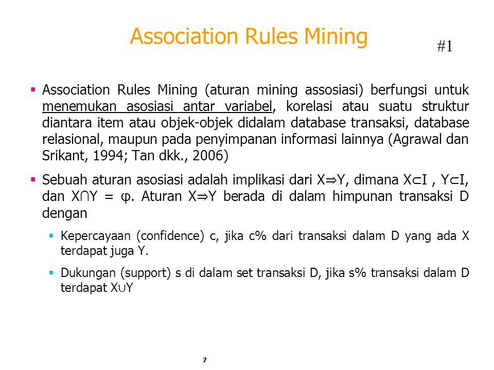 Association Rules Mining  Association Rules Mining (aturan mining assosiasi) berfungsi untuk menemukan asosiasi antar variabel, korelasi atau suatu struktur diantara item atau objek-objek didalam database transaksi, database relasional, maupun pada penyimpanan informasi lainnya (Agrawal dan Srikant, 1994; Tan dkk., 2006)  Sebuah aturan asosiasi adalah implikasi dari X ⇒ Y, dimana X ⊂ I, Y ⊂ I, dan X ∩ Y = φ.