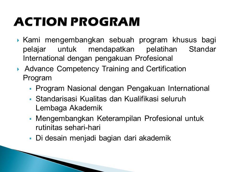  Kami mengembangkan sebuah program khusus bagi pelajar untuk mendapatkan pelatihan Standar International dengan pengakuan Profesional  Advance Competency Training and Certification Program  Program Nasional dengan Pengakuan International  Standarisasi Kualitas dan Kualifikasi seluruh Lembaga Akademik  Mengembangkan Keterampilan Profesional untuk rutinitas sehari-hari  Di desain menjadi bagian dari akademik