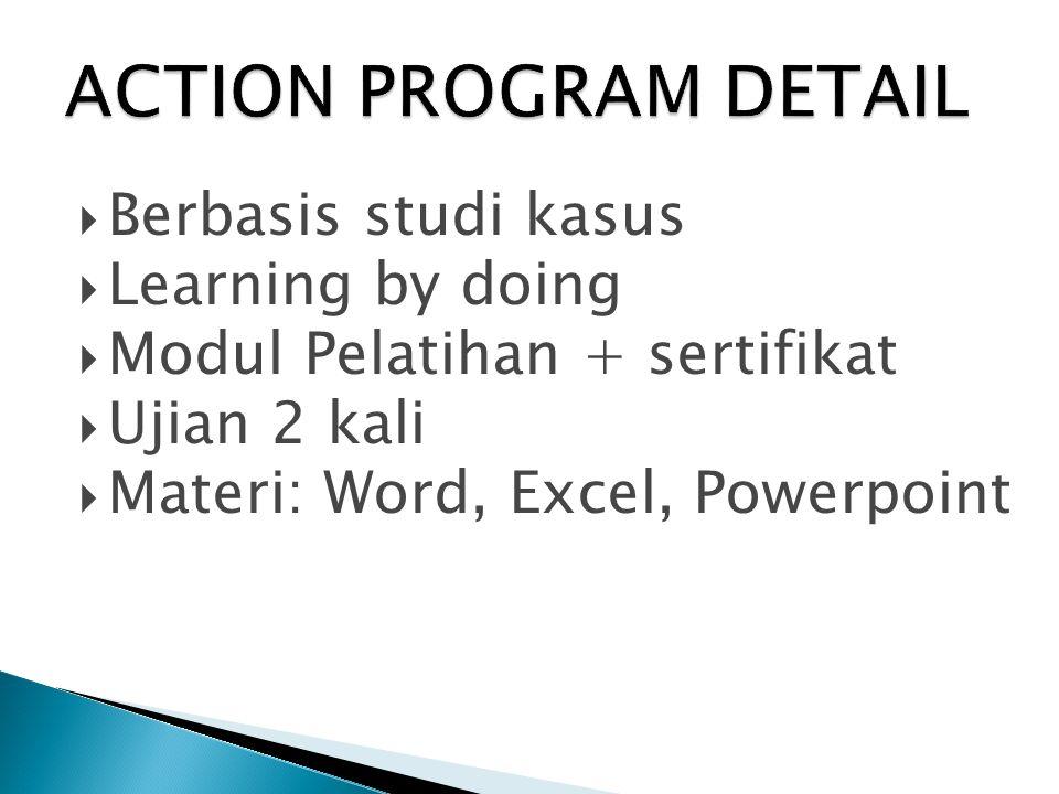  Berbasis studi kasus  Learning by doing  Modul Pelatihan + sertifikat  Ujian 2 kali  Materi: Word, Excel, Powerpoint