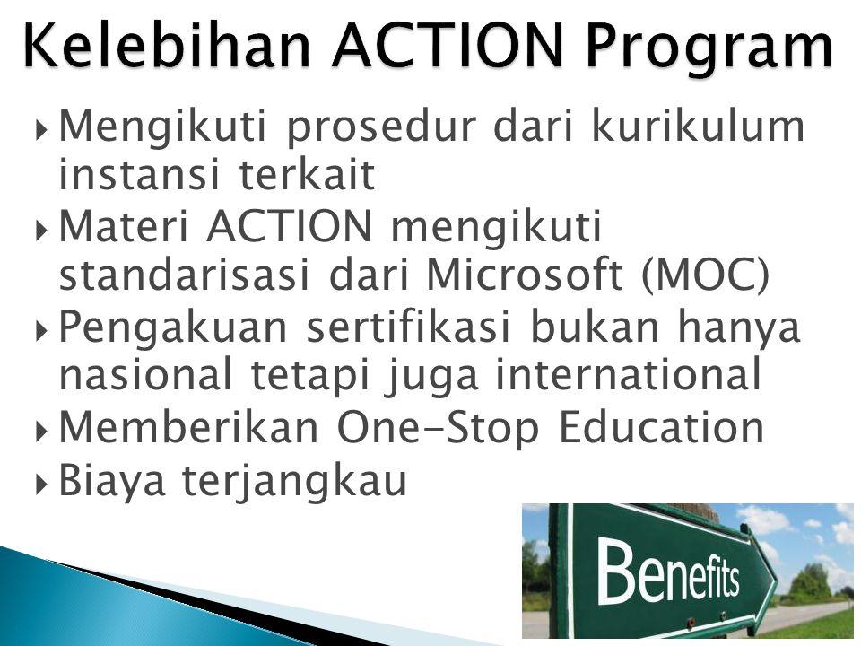  Mengikuti prosedur dari kurikulum instansi terkait  Materi ACTION mengikuti standarisasi dari Microsoft (MOC)  Pengakuan sertifikasi bukan hanya n