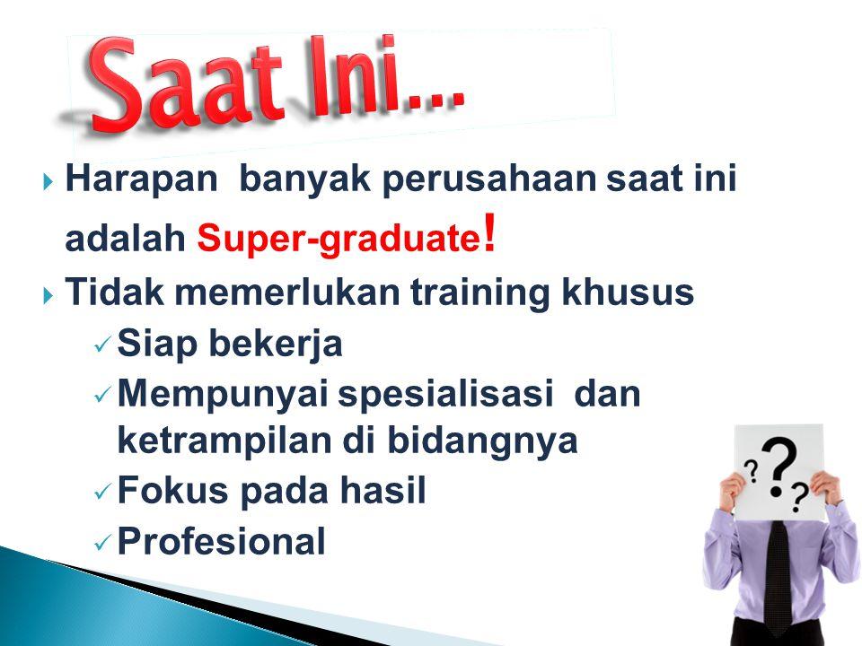  Harapan banyak perusahaan saat ini adalah Super-graduate !  Tidak memerlukan training khusus Siap bekerja Mempunyai spesialisasi dan ketrampilan di