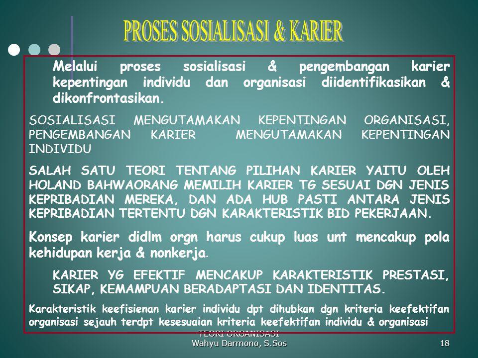 TEORI ORGANISASI Wahyu Darmono, S.Sos 18 Melalui proses sosialisasi & pengembangan karier kepentingan individu dan organisasi diidentifikasikan & diko