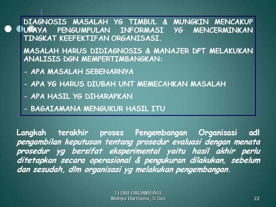 TEORI ORGANISASI Wahyu Darmono, S.Sos 22 DIAGNOSIS MASALAH YG TIMBUL & MUNGKIN MENCAKUP UPAYA PENGUMPULAN INFORMASI YG MENCERMINKAN TINGKAT KEEFEKTIFA