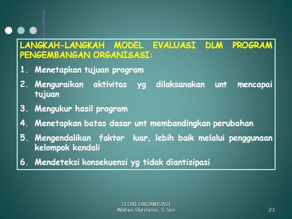 TEORI ORGANISASI Wahyu Darmono, S.Sos 23 LANGKAH-LANGKAH MODEL EVALUASI DLM PROGRAM PENGEMBANGAN ORGANISASI: 1.Menetapkan tujuan program 2.Menguraikan
