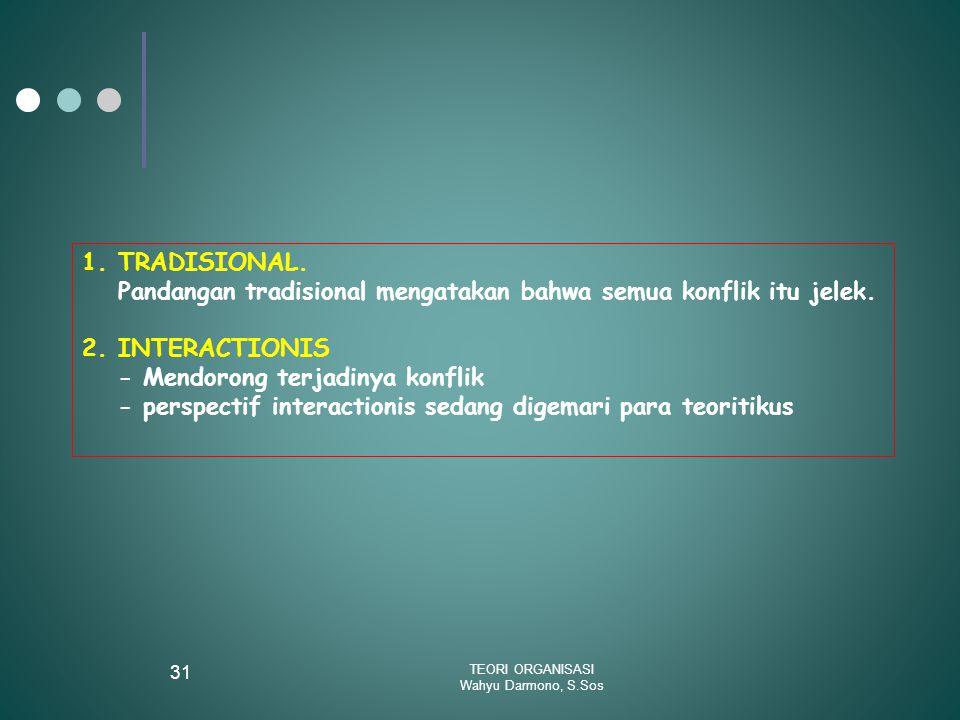 TEORI ORGANISASI Wahyu Darmono, S.Sos 31 1.TRADISIONAL. Pandangan tradisional mengatakan bahwa semua konflik itu jelek. 2.INTERACTIONIS - Mendorong te