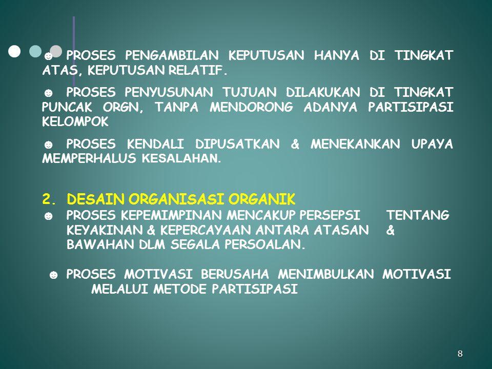 TEORI ORGANISASI Wahyu Darmono, S.Sos 19 PROSES SOSIALISASI ORGANISASI BERJALAN SELARAS DGN TAHAPAN KARIER, KESELARASAN TAHAPAN PENGEMBANGAN KARIER DGN PROSES SOSIALISASI MEMUNGKINKAN PIMP UNT MELAKSANAKAN PRAKTEK YG MEMPERBESAR PELUANG UNT MENCAPAI KEBUT BERSAMA DARI INDIVIDU & ORGANISASI PRAKTEK ORGANISASI SEPERTI PEREKRUTAN, SELEKSI, PENEMPATAN, PROMOSI DAN PEMINDAHAN, DPT MJD BAGIAN PENTING DR PROSES SOSIALISASI YG EFEKTIF JIKA PIMP MEMIKIRKAN DLM KAITANNYA DGN KEBUTUHAN INDIVIDUINDIVIDU & ORGANISASI KARAKTERISTIK JALUR KARIER REALISTIK: 1.Mencakupkemungkinan lateral & kebawah yg tdk terikat pd tk kemajuan normal 2.Bersifat sementara & responsif thd perubahan kebutuhan organisasi