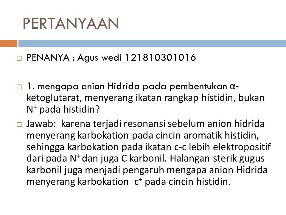 PERTANYAAN  PENANYA : Agus wedi 121810301016  1. mengapa anion Hidrida pada pembentukan α- ketoglutarat, menyerang ikatan rangkap histidin, bukan N