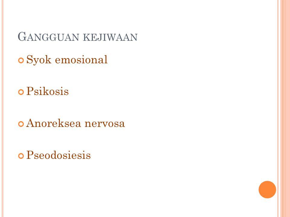 G ANGGUAN KEJIWAAN Syok emosional Psikosis Anoreksea nervosa Pseodosiesis
