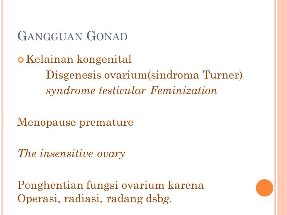 G ANGGUAN G ONAD Kelainan kongenital Disgenesis ovarium(sindroma Turner) syndrome testicular Feminization Menopause premature The insensitive ovary Pe