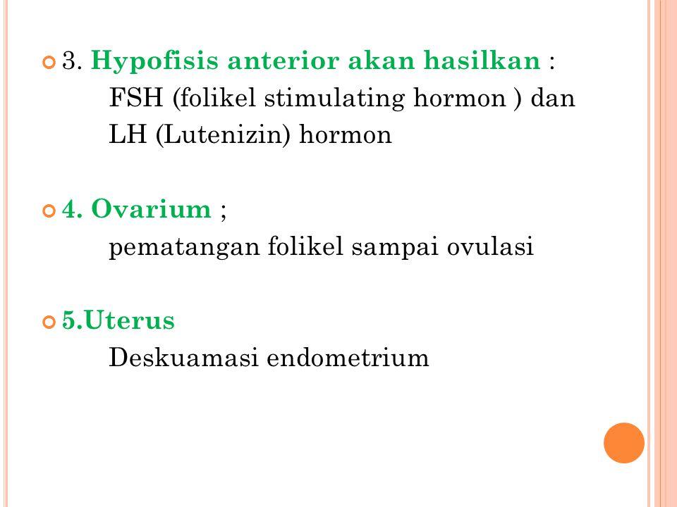 3. Hypofisis anterior akan hasilkan : FSH (folikel stimulating hormon ) dan LH (Lutenizin) hormon 4. Ovarium ; pematangan folikel sampai ovulasi 5.Ute