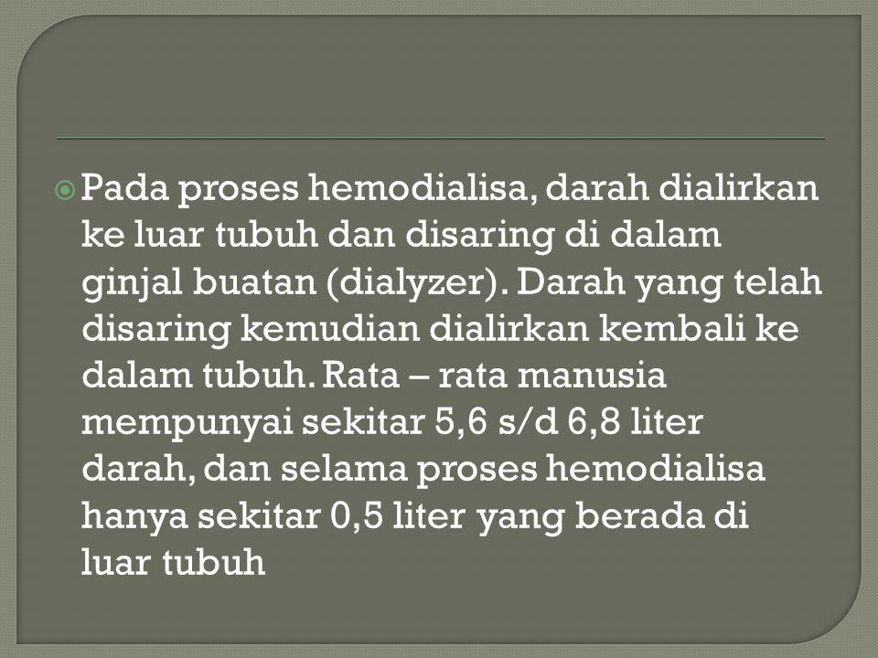 Pada proses hemodialisa, darah dialirkan ke luar tubuh dan disaring di dalam ginjal buatan (dialyzer). Darah yang telah disaring kemudian dialirkan