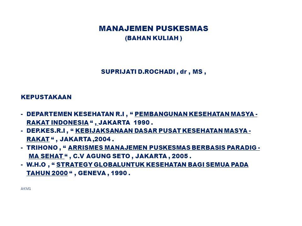 """MANAJEMEN PUSKESMAS (BAHAN KULIAH ) SUPRIJATI D.ROCHADI, dr, MS, KEPUSTAKAAN - DEPARTEMEN KESEHATAN R.I, """" PEMBANGUNAN KESEHATAN MASYA - RAKAT INDONES"""