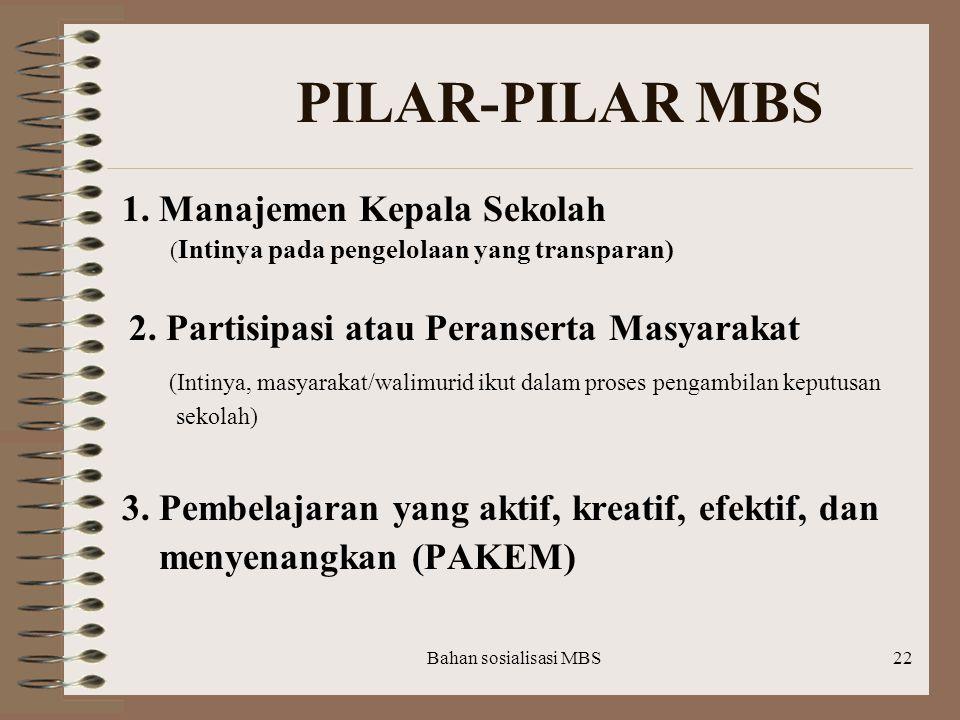 Bahan sosialisasi MBS21 (Lanjutan)  Pelatihan dan pemberian bantuan teknis secara berkala untuk personil sekolah melalui : KKG, pertemuan gugus/ seko