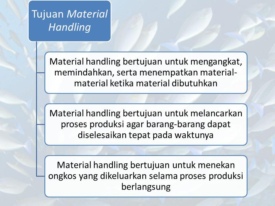 Tujuan Material Handling Material handling bertujuan untuk mengangkat, memindahkan, serta menempatkan material- material ketika material dibutuhkan Ma