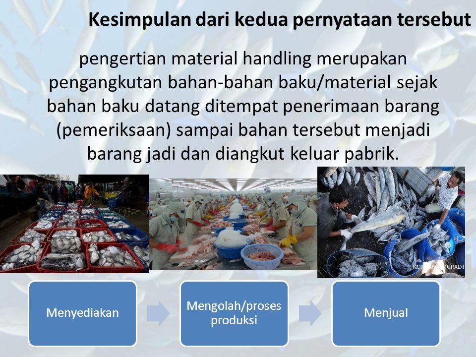 Kesimpulan dari kedua pernyataan tersebut pengertian material handling merupakan pengangkutan bahan-bahan baku/material sejak bahan baku datang ditemp