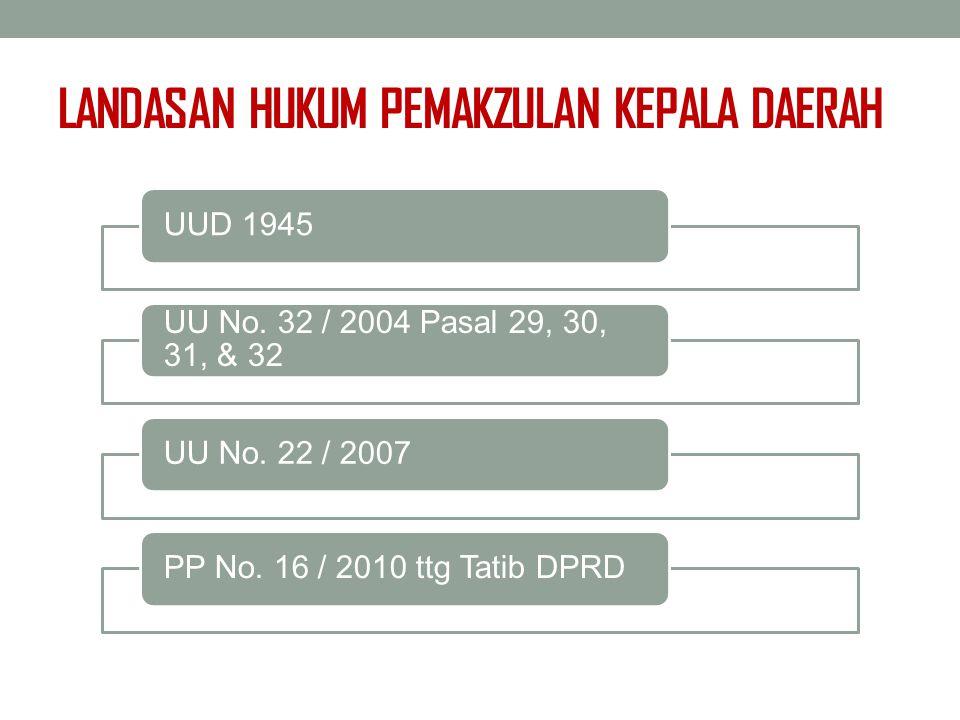 LANDASAN HUKUM PEMAKZULAN KEPALA DAERAH UUD 1945 UU No. 32 / 2004 Pasal 29, 30, 31, & 32 UU No. 22 / 2007PP No. 16 / 2010 ttg Tatib DPRD