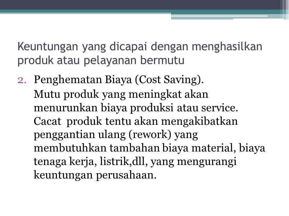 Keuntungan yang dicapai dengan menghasilkan produk atau pelayanan bermutu 2.Penghematan Biaya (Cost Saving). Mutu produk yang meningkat akan menurunka