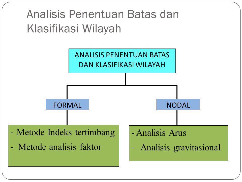 Analisis Penentuan Batas dan Klasifikasi Wilayah ANALISIS PENENTUAN BATAS DAN KLASIFIKASI WILAYAH FORMALNODAL - Metode Indeks tertimbang - Metode anal