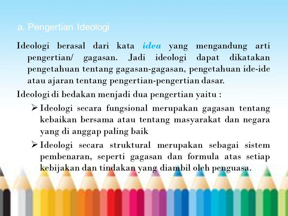 a. Pengertian Ideologi Ideologi berasal dari kata idea yang mengandung arti pengertian/ gagasan. Jadi ideologi dapat dikatakan pengetahuan tentang gag