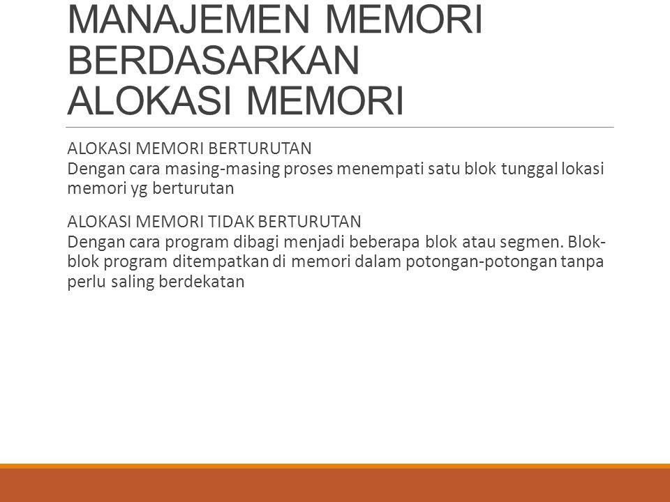 MANAJEMEN MEMORI BERDASARKAN ALOKASI MEMORI ALOKASI MEMORI BERTURUTAN Dengan cara masing-masing proses menempati satu blok tunggal lokasi memori yg be