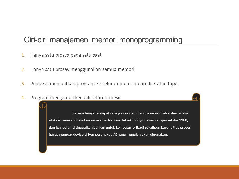 Ciri-ciri manajemen memori monoprogramming 1.Hanya satu proses pada satu saat 2.Hanya satu proses menggunakan semua memori 3.Pemakai memuatkan program