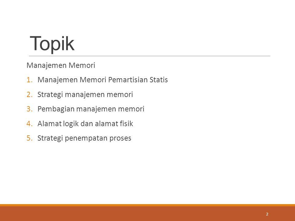 Topik Manajemen Memori 1.Manajemen Memori Pemartisian Statis 2.Strategi manajemen memori 3.Pembagian manajemen memori 4.Alamat logik dan alamat fisik
