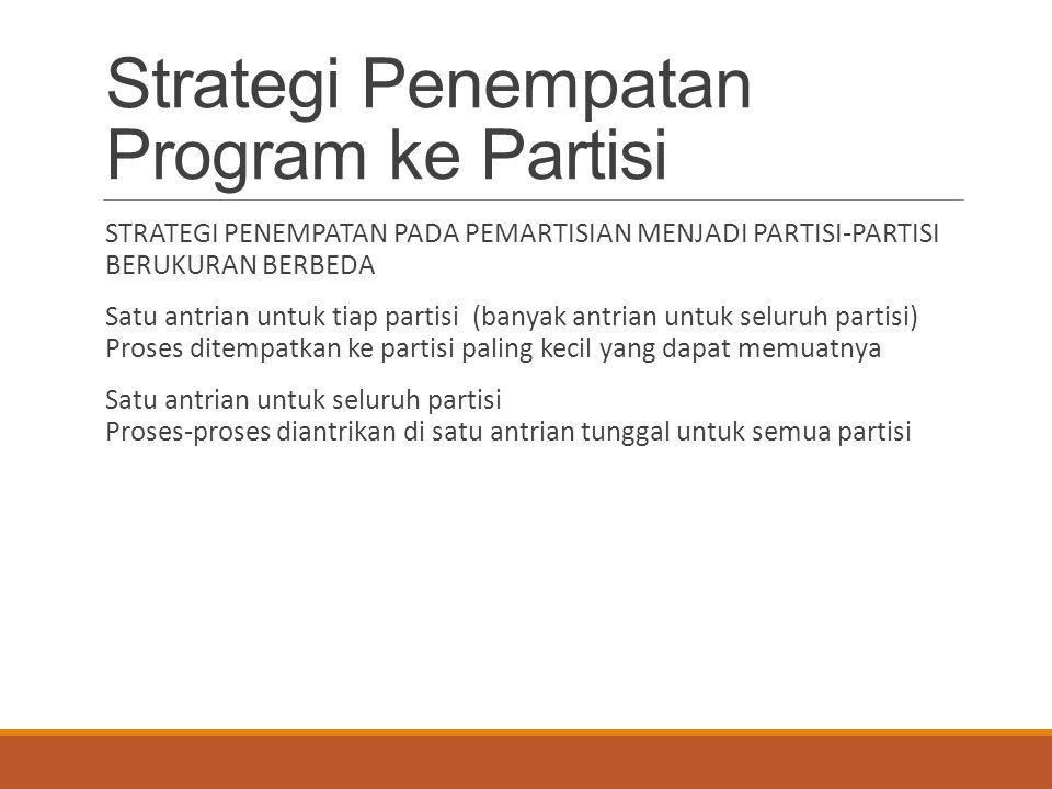 Strategi Penempatan Program ke Partisi STRATEGI PENEMPATAN PADA PEMARTISIAN MENJADI PARTISI-PARTISI BERUKURAN BERBEDA Satu antrian untuk tiap partisi