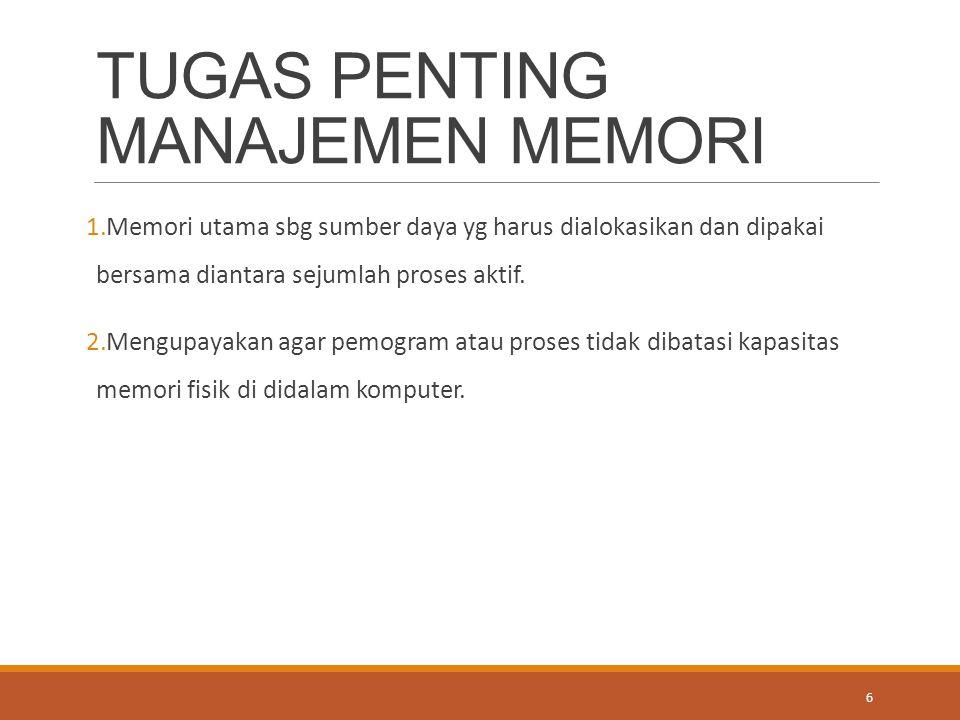 TUGAS PENTING MANAJEMEN MEMORI 1.Memori utama sbg sumber daya yg harus dialokasikan dan dipakai bersama diantara sejumlah proses aktif. 2.Mengupayakan