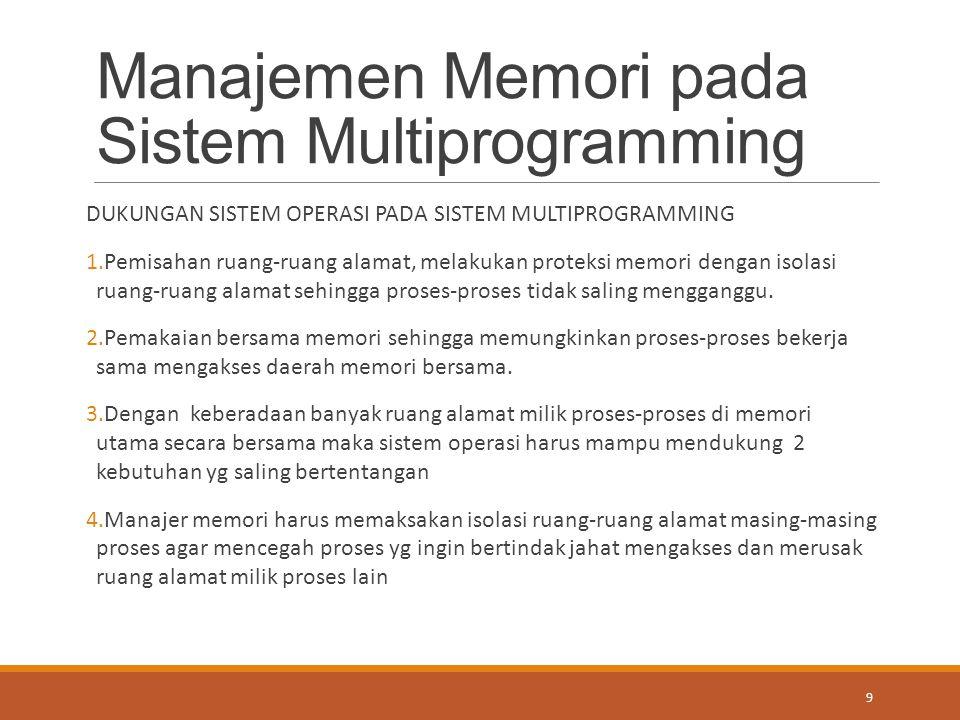 Manajemen Memori pada Sistem Multiprogramming DUKUNGAN SISTEM OPERASI PADA SISTEM MULTIPROGRAMMING 1.Pemisahan ruang-ruang alamat, melakukan proteksi