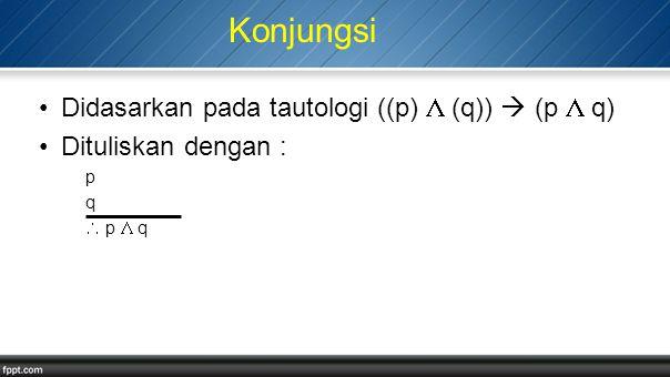 Konjungsi Didasarkan pada tautologi ((p)  (q))  (p  q) Dituliskan dengan : p q  p  q