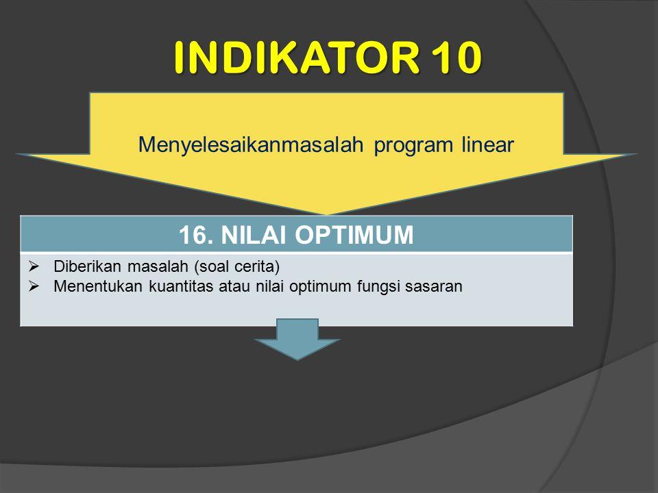 INDIKATOR 10 Menyelesaikanmasalah program linear 16. NILAI OPTIMUM  Diberikan masalah (soal cerita)  Menentukan kuantitas atau nilai optimum fungsi