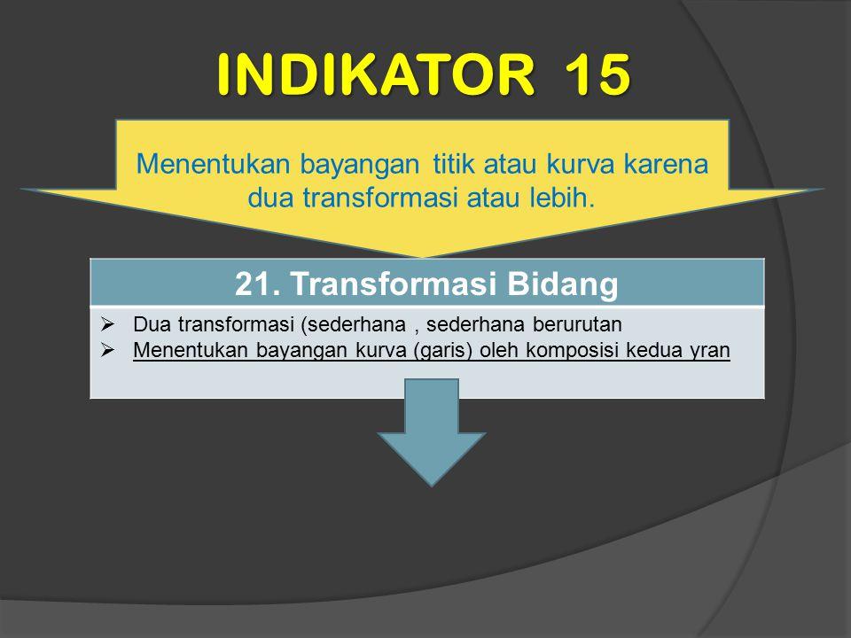 INDIKATOR 15 Menentukan bayangan titik atau kurva karena dua transformasi atau lebih. 21. Transformasi Bidang  Dua transformasi (sederhana, sederhana